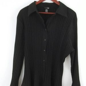 East 5th Black Plus Size Long Sleeve Blouse Top 3X